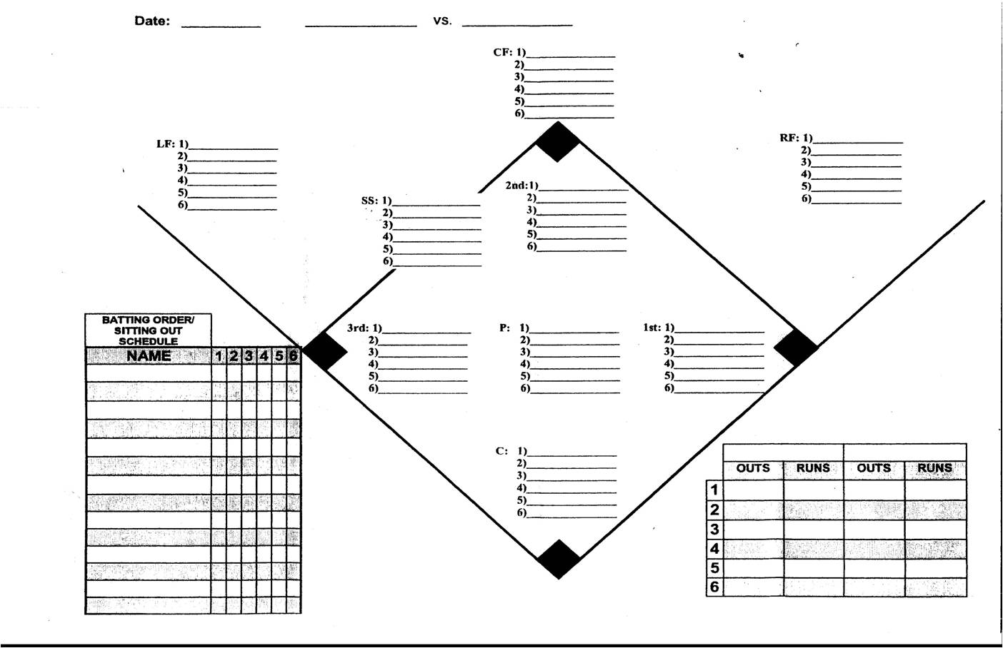 Coaching softball for Free baseball lineup card template