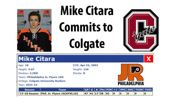 jr flyer mike citara commits to colgate