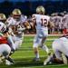 The Lakeville South offensive line opens up a hole for running back Josh Jacobson (5) against Lakeville North during the second quarter of a high school football game at Lakeville South High School on Friday, Sept. 10, 2021. (John Autey / Pioneer Press)