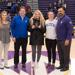 Pictured (L-R): Halley Barnes (on behalf of Allstate), Tom Kruse (local Allstate agent), Paige Peltier, coach Rosie Malone-Povolny, AD Phil Archer.