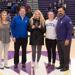 Pictured (L-R): Halley Barnes (on behalf of Allstate), Tom Kruse (local Allstate agent), Paige Peltier, coach Rosie Malone-Povolny, AD Phil Archer.