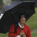 Brian Dolehide of Hinsbrook Central brought out the umbrella for the second day of the state meet last year at The Den at Fox Creek in Bloomington. He tied for fifth, while the Red Devils won the 3A crown. | David Proeber/For Sun-Times MeDIA