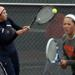Oak Park-River Forest's Tess Trinka (right) guards the net while her partner Taylor Arends returns a shot during a doubles match at last year's Prospect tournament. | Buzz Orr/Sun-Times Media