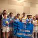 Minneapolis Lakers Boys 8th Grade Gold pose with their first place trophies at the Jefferson Jaguar Classic in Bloomington, MN