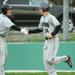 Chris Rzewnicki is congratulated by Vito Iovino after homering in the seventh inning