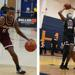 On the left, Rob Bell dribbles the basketball. On the right, Demetrius Lilley goes for a layup.
