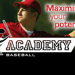 Academy logo and baseball player