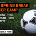 Soccer camp flyer with a soccer ball image.