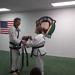 Taekwondo martial art lady recieving her new black belt