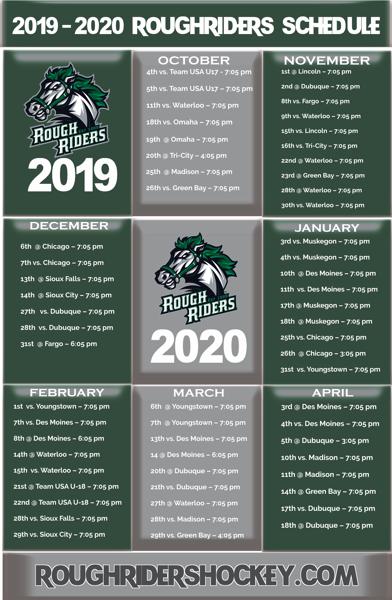 Opm Calendar 2020 RoughRiders announce 2019 2020 USHL Schedule