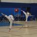 Martial arts black belts doing a high Taekwondo roundhouse kick