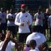 Haason Reddick speaks to campers at Camden Health & Athletic Association sponsored event Saturday
