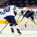GW forward Alec Weinberg on a breakaway against the Georgetown goalie.