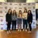 (Left to right) Coach Makenna Newkirk, Audrey Knapp, Mia Buonarosa, Hayley Hunter, Coach Dana Trivigno