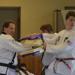 Kyle F, martial arts black belt, breaking board with a knifehand strike