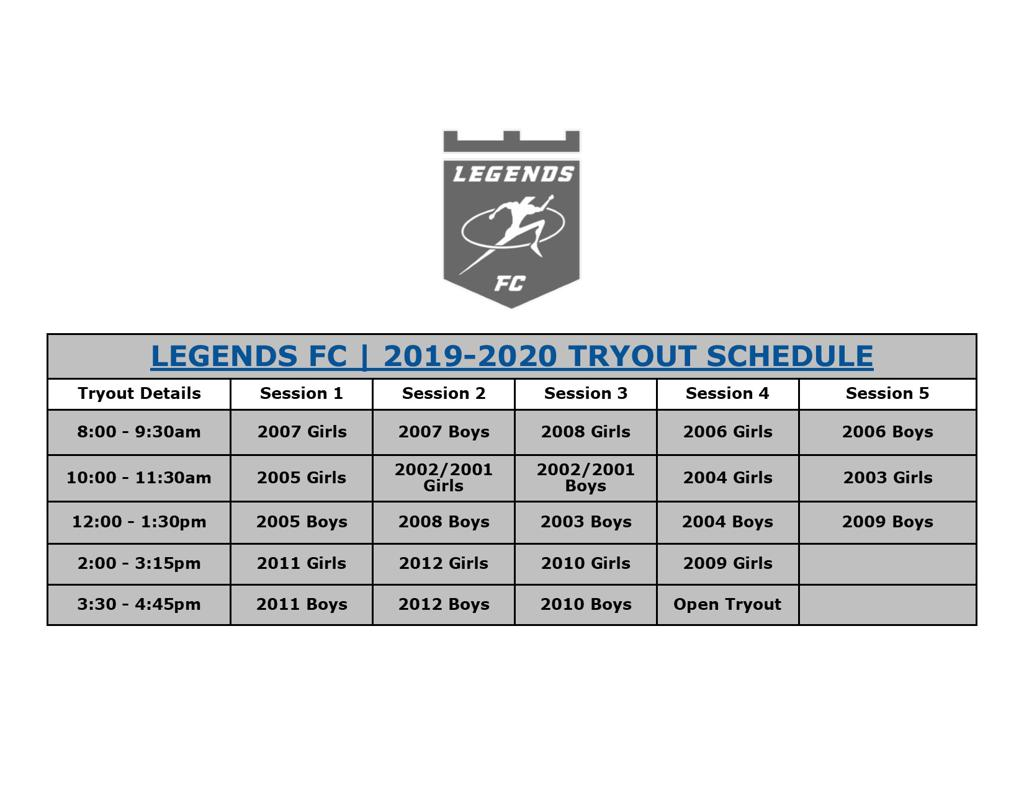 Legends FC Tryout Schedule