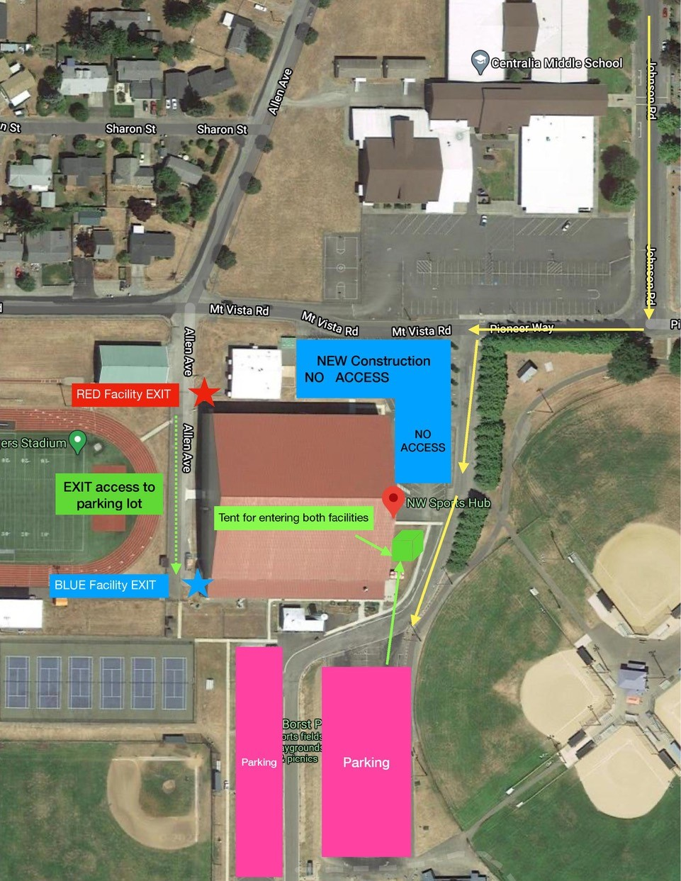 Map of area surrounding HUB with parking and entrance instructions