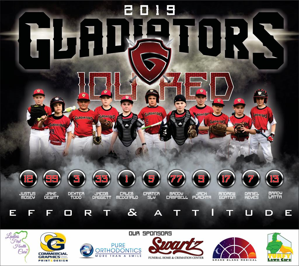 2019 Grand Blanc Gladiators 10U Red Banner