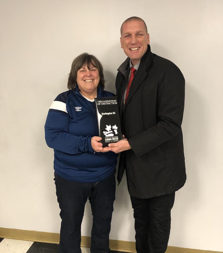 "Darlington Soccer Recives ""Distinction Award"" from CSA Director of Development, Jason de Vos"