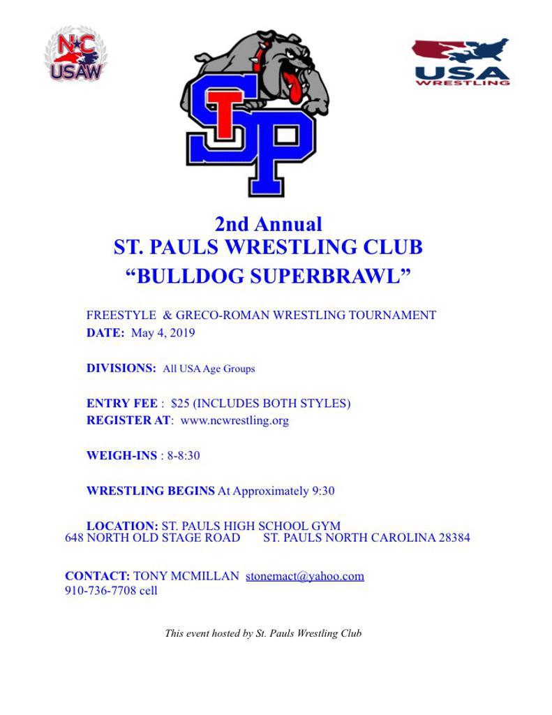 St Pauls Bulldog Brawl Event Flyer
