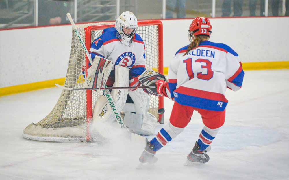 Simley goalie Hailey Reis had 19 saves at home Tuesday in the Spartans' 4-0 loss to Hill-Murray. Photo by Earl J. Ebensteiner, SportsEngine