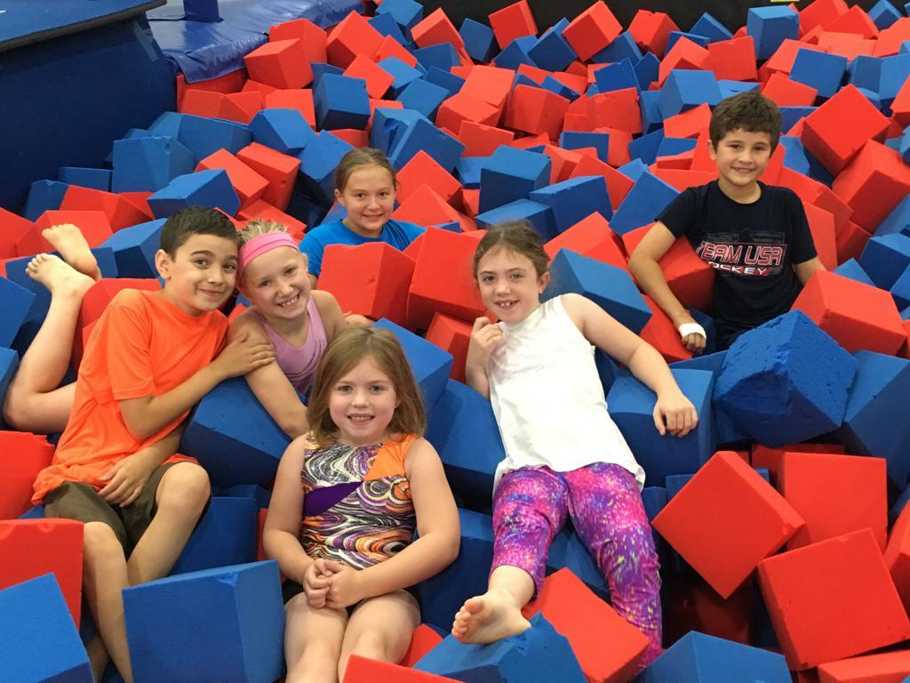 Kids having fun in the foam pit