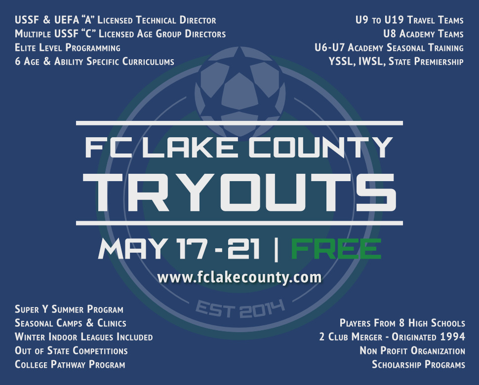 2021 FC Lake County Tryouts - May 17-21