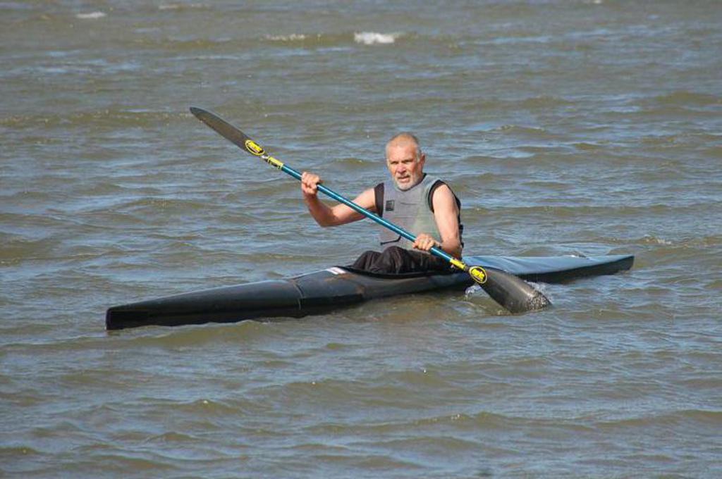 John Lederer in a sprint kayak