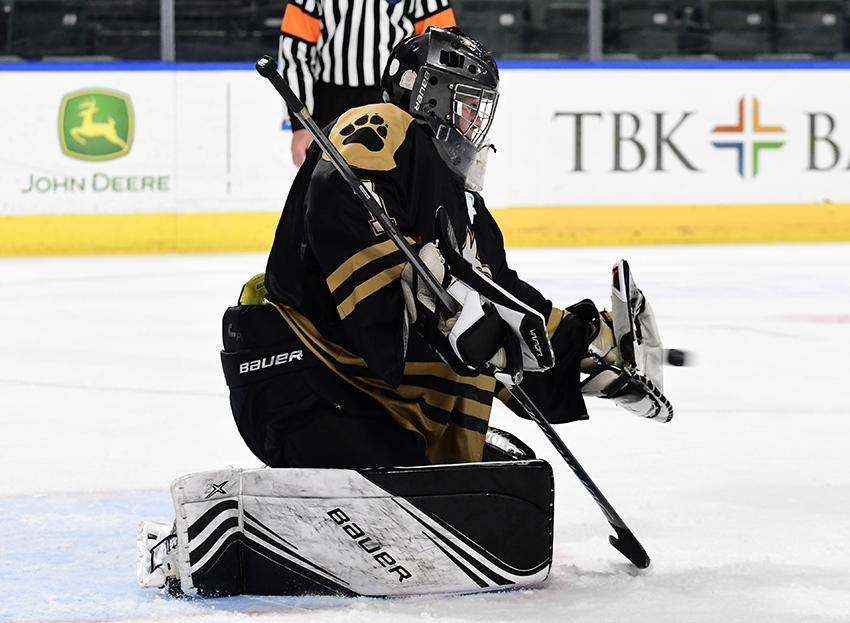 Goaltender Logan Gremmer (pictured) recorded his first shoutout of the season in a state tournament semifinal against Kent Denver to set up Battle Mountain's championship bid on March 18. Photo by Steven Robinson, SportsEngine