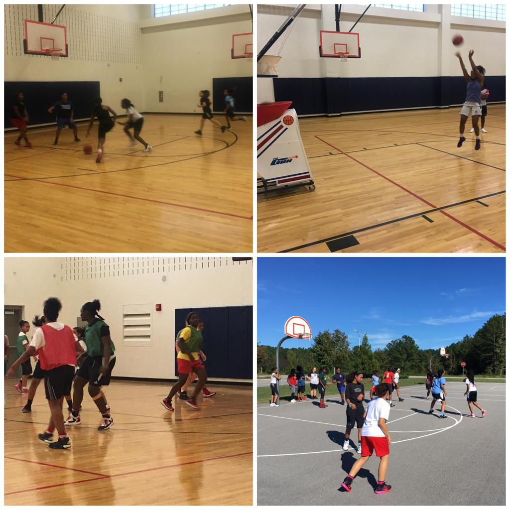 various photos of basketball players shooting the ball and practicing