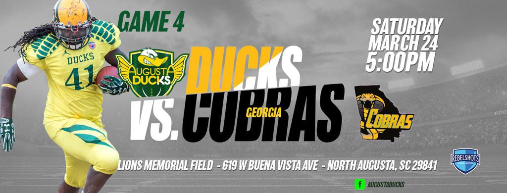 Georgia Cobras vs Augusta Ducks 24 March - 5PM