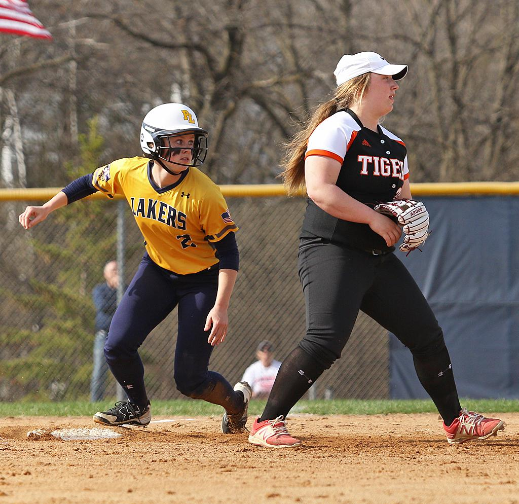 Alexandra Pinkowski (2) eases into third on a two-base error. Pinkowski went on to score on a sacrifice fly by Jocelyn Kirk to put the Lakes up 2-0 in the third inning. Photo by Cheryl Myers, SportsEngine