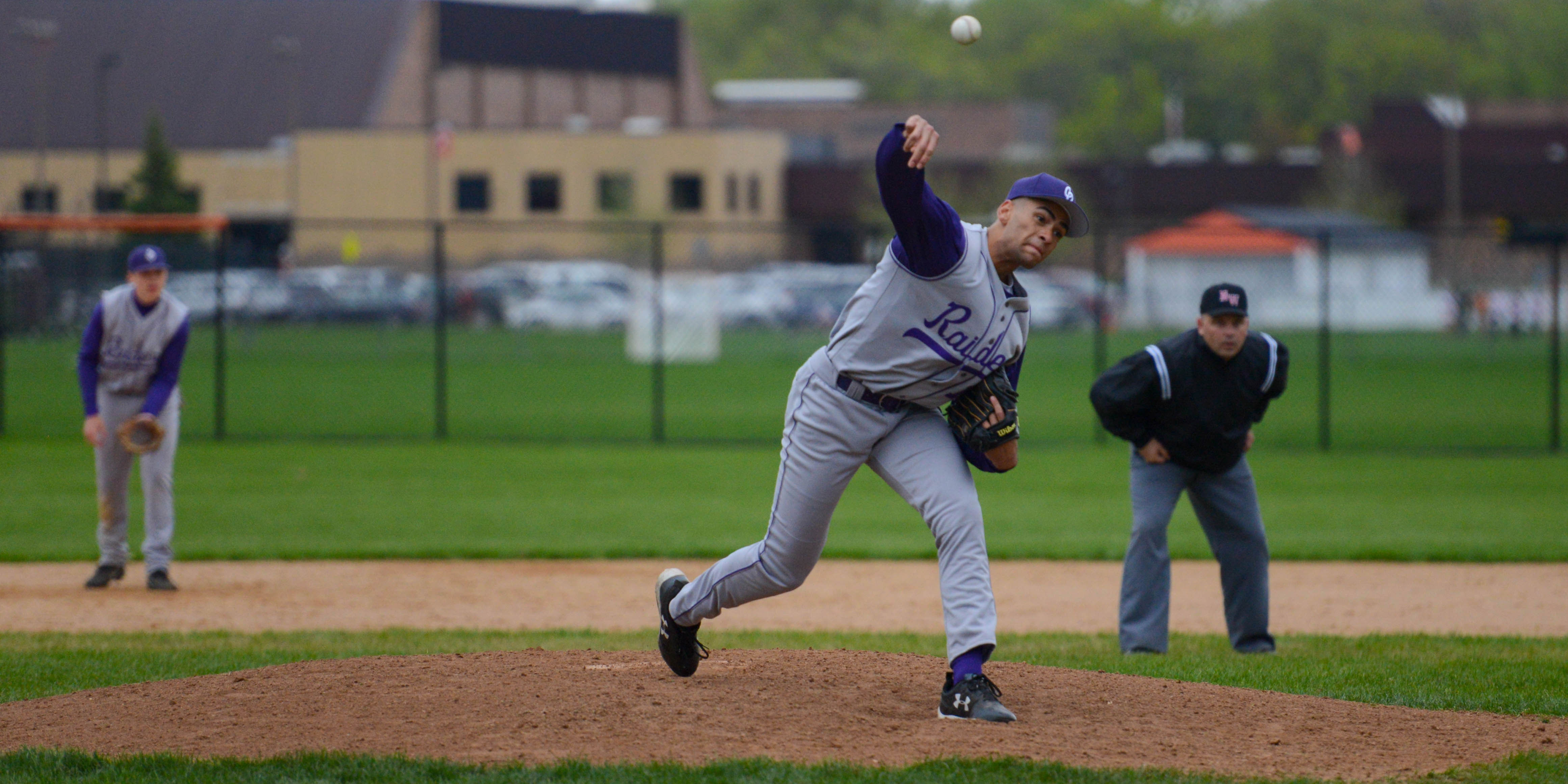 Cretin-Derham Hall pitcher Peter Udoibok (11) throws against White Bear Lake. The Raiders won 12-1 in five innings. Photo by Carter Jones, SportsEngine