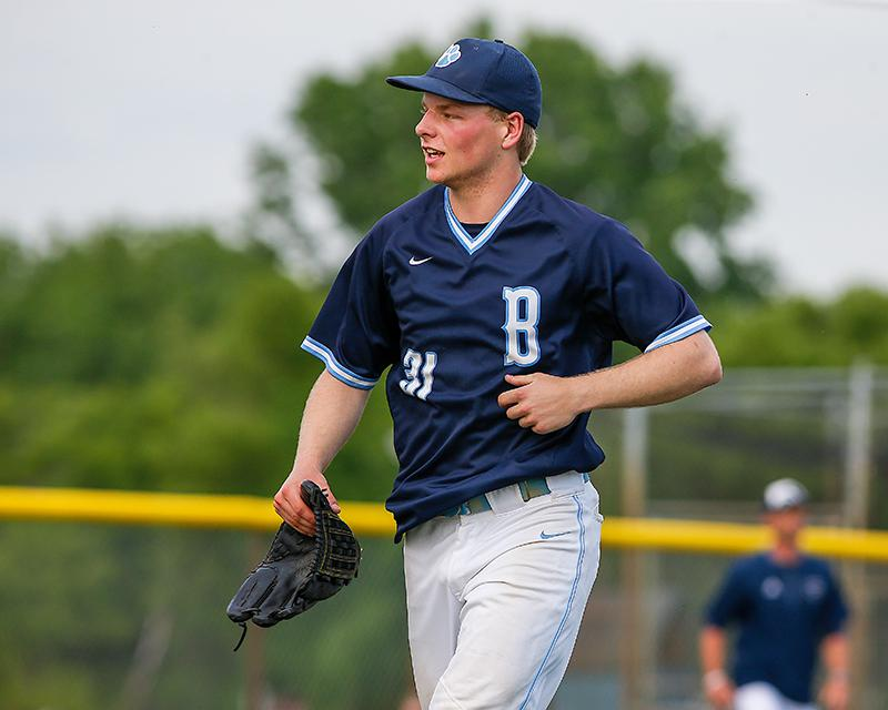 Blaine pitcher Logan McDonald comes off the mound after getting Champlin Park's Brady Higgins to ground out to end the game. McDonald allowed just one hit. Photo by Mark Hvidsten, SportsEngine
