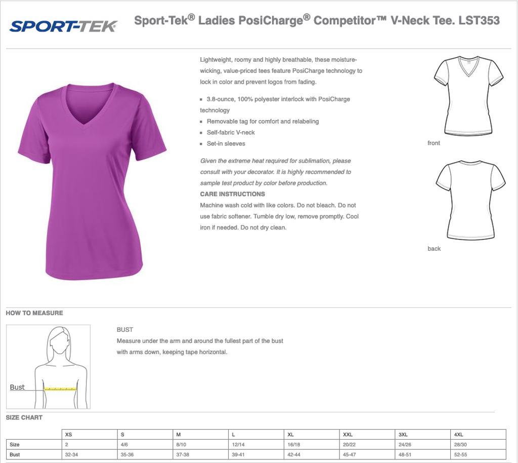 Women's Sport-Tek Competitor V-Neck Size Chart