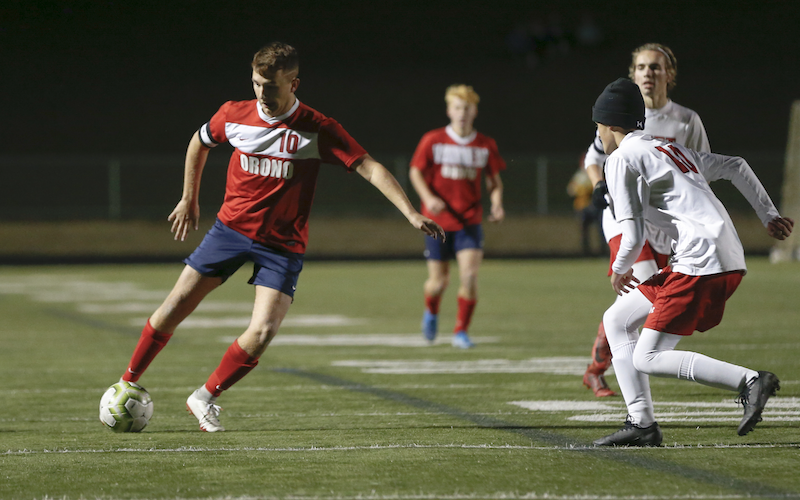 Reece Clifford (left) logged seven goals and six assists in his senior campaign, helping carry Orono to a Wright County Conference championship. Clifford was named to the Class 1A first team all-state. Photo by Jeff Lawler, SportsEngine