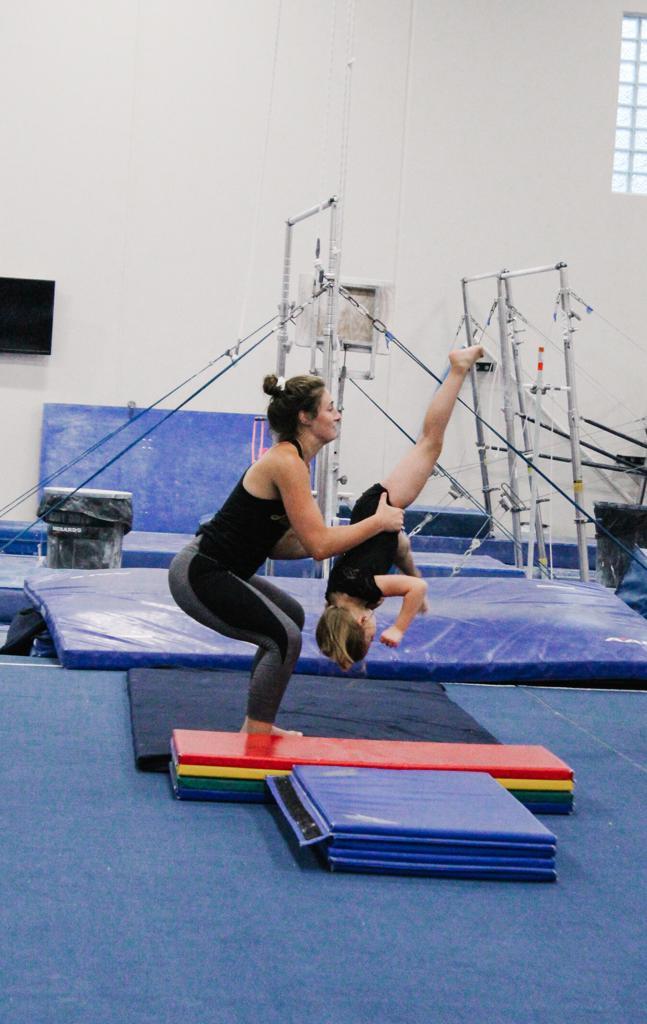 Coach Spotting Gymnasts Aerial