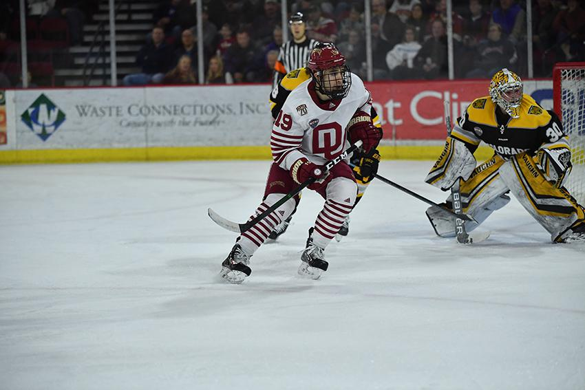 Cole Guttman (No. 19) tallied 28 points for the Pioneers a season ago and is one of the team's top returners this fall. A 5-foot-9 junior, Guttman is a prospect of the Tampa Bay Lightning.