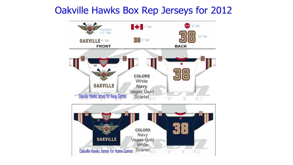 HOME AND AWAY JERSEYS FOR THE 2012 OAKVILLE HAWKS