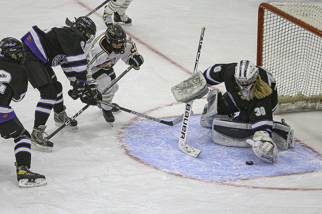 Eastview goaltender Angie Lombardi (30) reaches for a puck in the third period. Lombardi got the shutout for the Lightning. Photo by Mark Hvidsten, SportsEngine