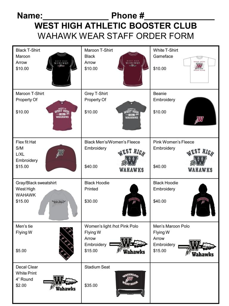 New 2012 13 wahawk apparel is now available for Custom t shirt order form