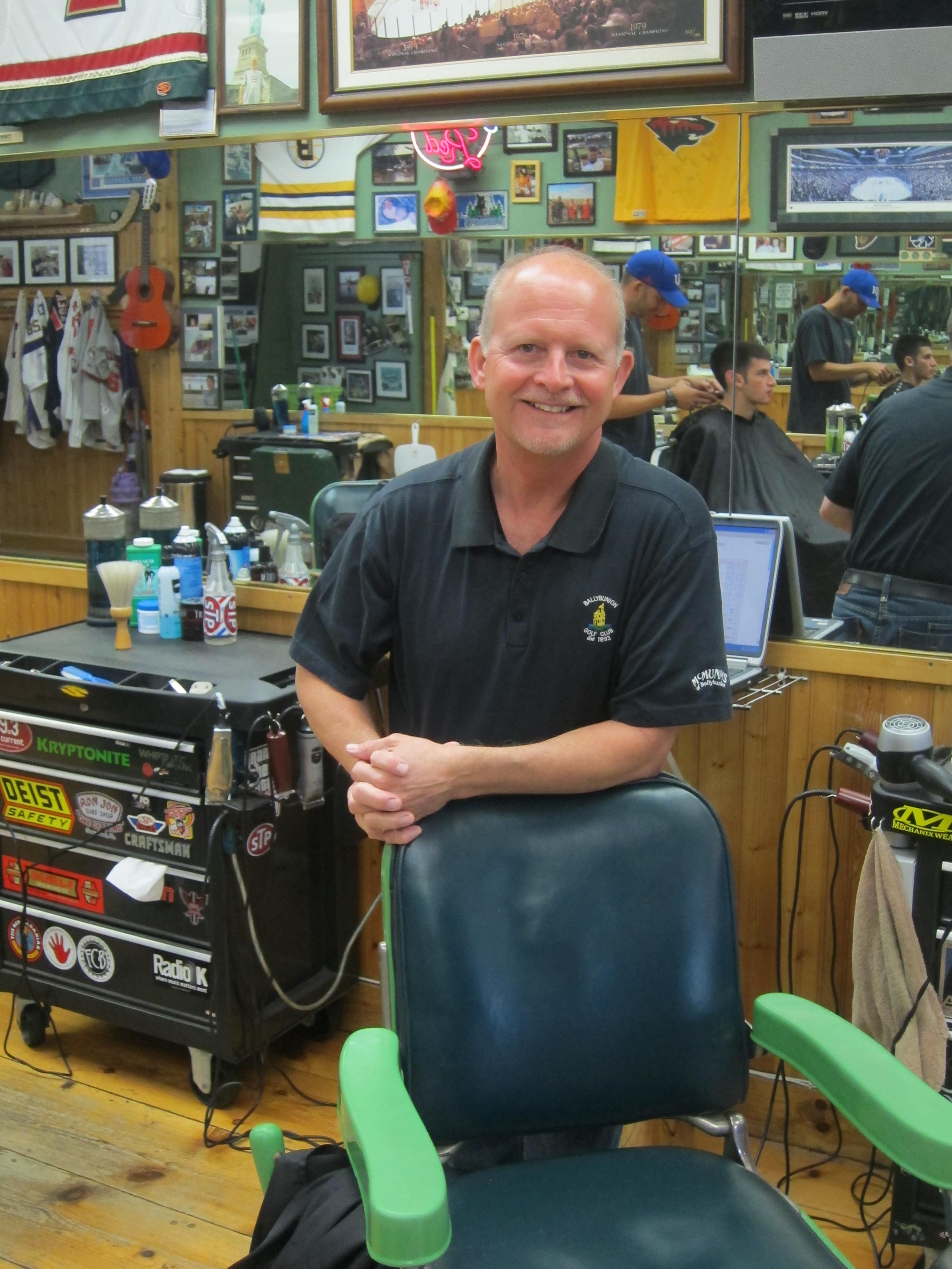 Gene the barber at Dick's Barbers Edina