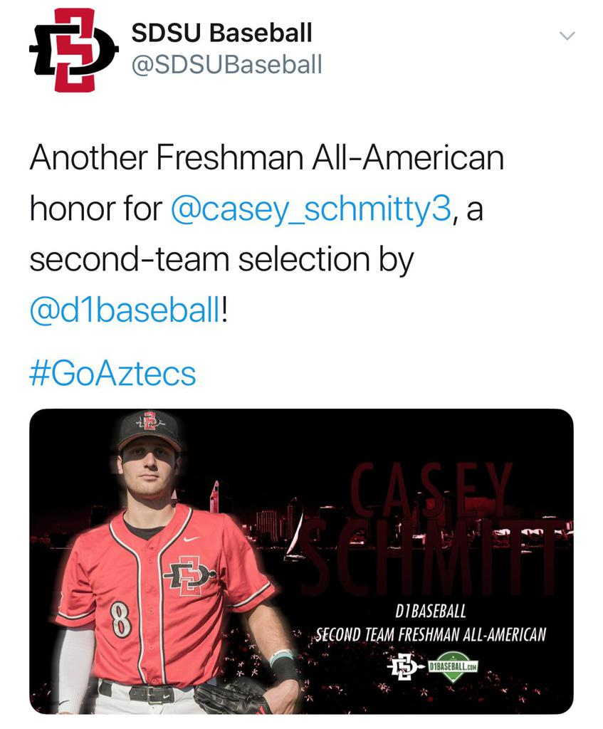 More Awards for SDSU Freshman Casey Schmitt