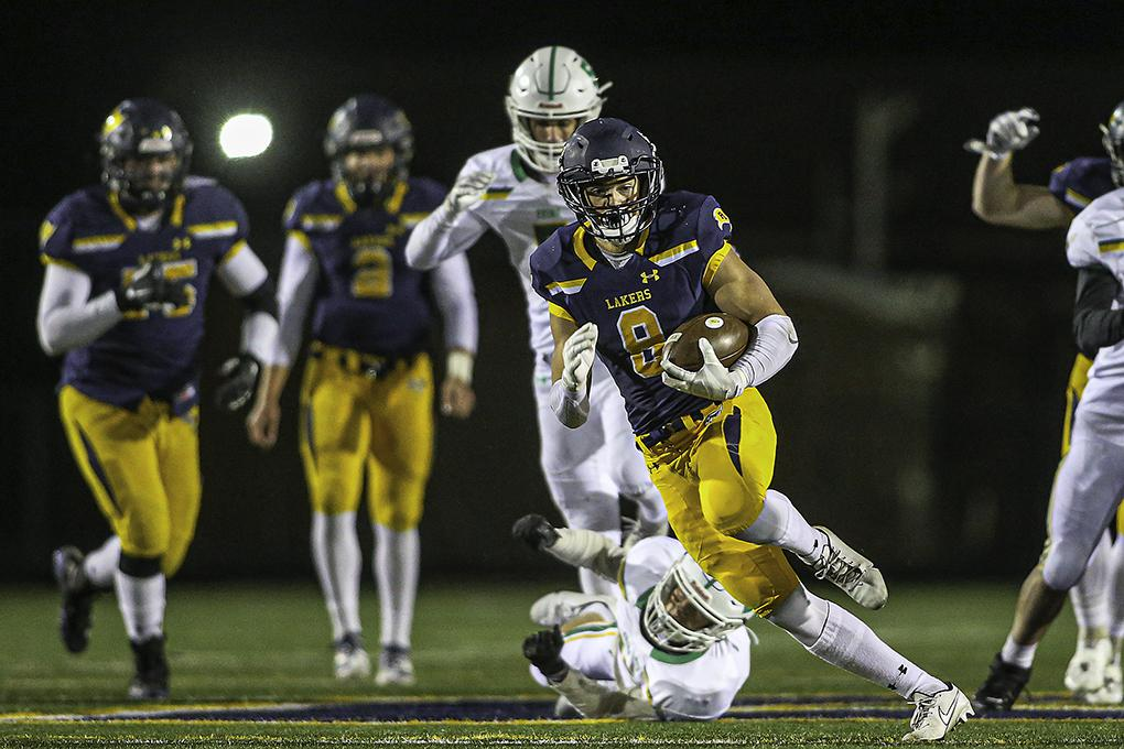 Prior Lake running back Tyler Shaver (8) broke free for a long run in the second quarter of the Lakers' 42-0 victory over Edina at Prior Lake High School on Thursday. Photo by Mark Hvidsten, SportsEngine