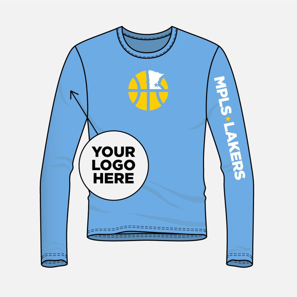 Graphic illustration of a Mpls Lakers Basketball Program shooting shirt. The blue (Columbia Blue, the signature color of the Mpls Lakers) shirt is long-sleeved, features the Mpls Lakers Ball & State icon (a basketball with the shape of the State of MN in