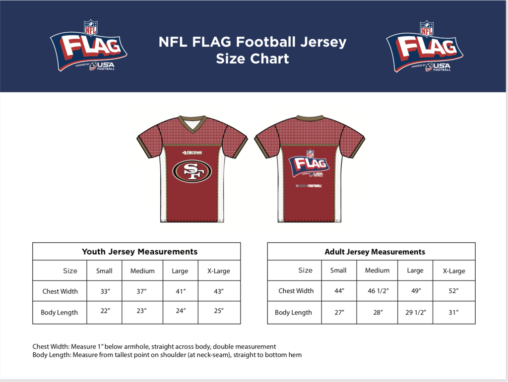 nfl jersey size guide