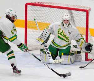 Edina goaltender Andrew Rohkohl. Photo by Adam Crane