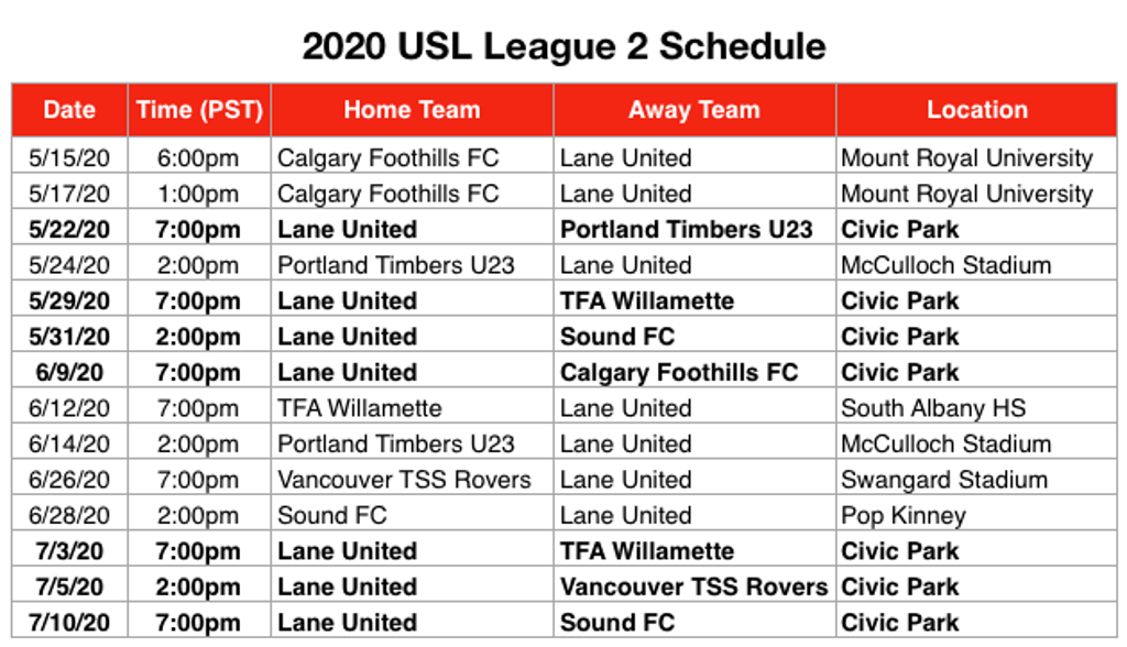 2020 Home Schedule