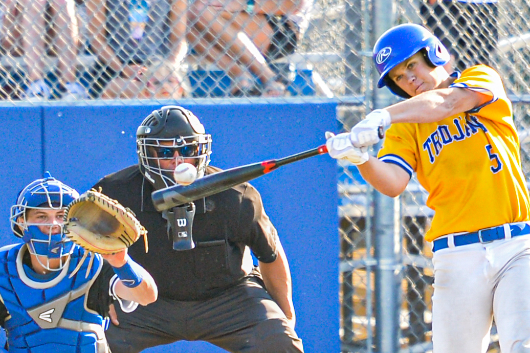 Wayzata's Carter Tibbits was effective at the plate, hitting two sacrifice flies for RBIs but the Trojans still lost to Hopkins 8-4 Friday night in the Class 4A, Section 6 final. Photo by Earl J. Ebensteiner, SportsEngine