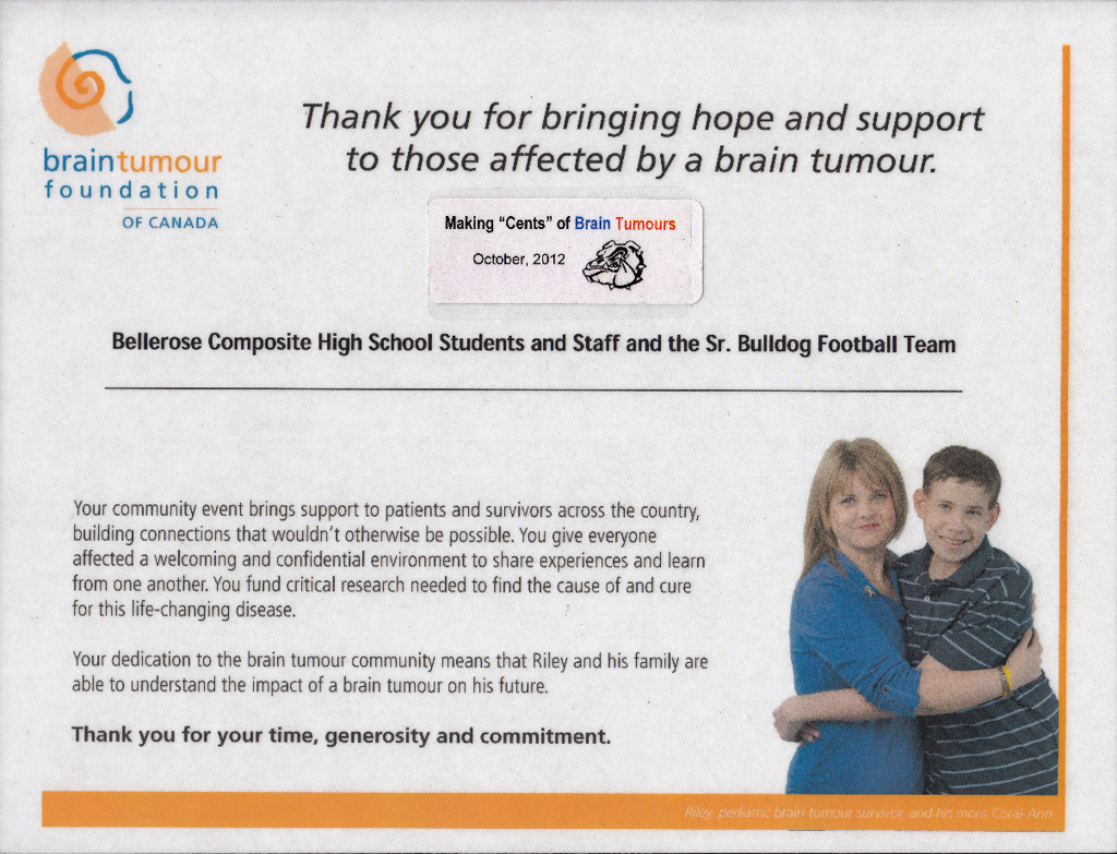 """Making Cents"" of Brain Tumors - Thank you to the Senior Bulldogs"